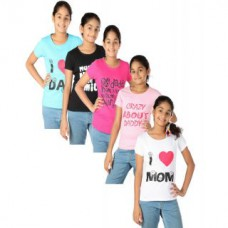 Deals, Discounts & Offers on Baby & Kids - Goodway Senior Girls Mom & Dad Printed T-Shirts-Pack Of 5