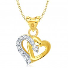 Deals, Discounts & Offers on Earings and Necklace - Vina Jewels Valentine One love Heart Shape Gold and Rhodium plated Pendant For girl