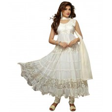 Deals, Discounts & Offers on Women Clothing - Lavis White Brasso Semi Stitched Dress Material