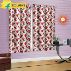 Deals, Discounts & Offers on Home Decor & Festive Needs - Cortina Polyester Multicolor Floral Eyelet Window Curtain at 41% offer