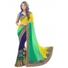 Deals, Discounts & Offers on Women Clothing - Amar Enterprise Multi Color Faux Georgette Saree at 70% offer