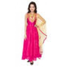 Deals, Discounts & Offers on Women Clothing - Anica Pink Chiffon Embroidered Gown Suits 49% offer