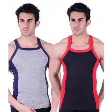 Deals, Discounts & Offers on Men Clothing - White Moon Multicolour Cotton Vest Pack Of 2 at 74% offer