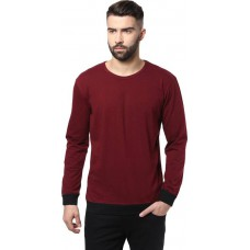 Deals, Discounts & Offers on Men Clothing - Unisopent Designs Solid Men's Round Neck Maroon at 40% offer