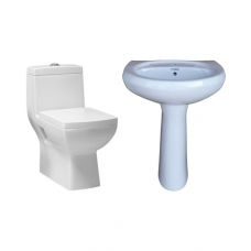 Deals, Discounts & Offers on Home Appliances - Flat 55% off on BM Belmonte One Piece Water Closet S Trap Pedestal Wash Basin