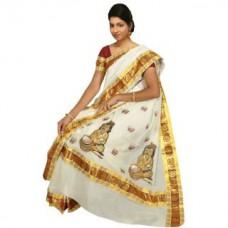 Deals, Discounts & Offers on Women Clothing - Flat 58% off on Fashionkiosks Kerala Milk Pure Cotton Kasavu