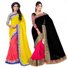 Deals, Discounts & Offers on Women Clothing - Flat 70% off on Aashvi Creation Embriodered Georgette Sari