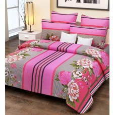 Deals, Discounts & Offers on Home Appliances - Flat 78% off on Home Candy Cotton Stripes and Flowers Double Bed Sheet