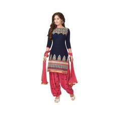 Deals, Discounts & Offers on Women Clothing - Flat 87% Offer on Style In Printed Blue Pink Designer Salwar Suit With Pink Bottom