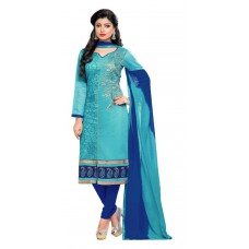 Deals, Discounts & Offers on Women Clothing - Flat 72% Offer on Khushali Presents Embroidered Chanderi Dress Material