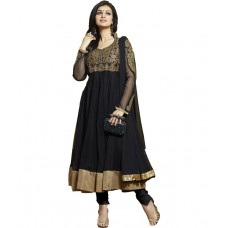 Deals, Discounts & Offers on Women Clothing - Flat 71% Offer on Adah Fashions Black Georgette Semi Stitched Suit