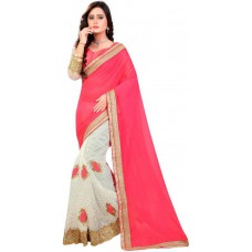 Deals, Discounts & Offers on Women Clothing - Flat 66% off on KedarFab Embriodered Fashion Pure Georgette Sari