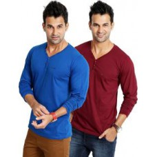 Deals, Discounts & Offers on Men Clothing - Flat 55% off on Rodid Solid Men's V-neck Blue, Maroon T-Shirt - Pack of 2