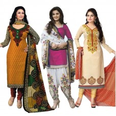 Deals, Discounts & Offers on Women Clothing - Flat 83% off on Janasya  Set Of 3 Dresses Material