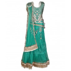 Deals, Discounts & Offers on Kid's Clothing - Crazeis Turquoise Net Lehenga Choli at 76% Offer