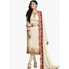 Deals, Discounts & Offers on Women Clothing - Flat 69% off on Cream Embroidered Dress Material