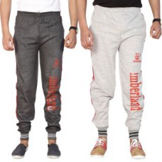 Deals, Discounts & Offers on Men Clothing - Swaggy Grey,Black Running Track Pants at 80% Offer