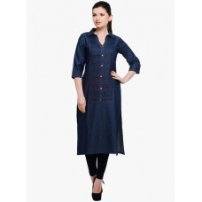 Deals, Discounts & Offers on Women Clothing -  Flat 5% off on Tissu Navy Blue Solid Kurta