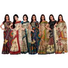 Deals, Discounts & Offers on Women Clothing - Flat 50% off on Shonaya Set Of 7 Taffeta Silk Printed Saree