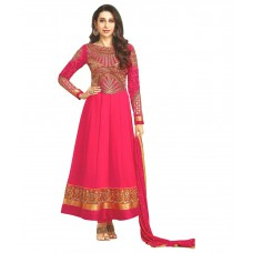 Deals, Discounts & Offers on Women Clothing - Flat 68% off on Reya Pink Georgette Anarkali Semi Stitched Suit