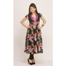 Deals, Discounts & Offers on Women Clothing - Flat 61% off on Shakumbhari Rayon Round Neck Cap Sleeve Floral