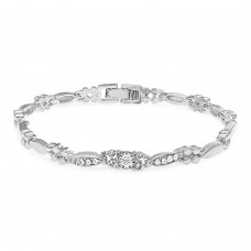 Deals, Discounts & Offers on Women - Mahi Eita Collection White Rhodium Plated Crystal Single Strand Bracelet For Women