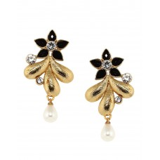 Deals, Discounts & Offers on Earings and Necklace - Flat 34% off on Bindhani Traditional Gold Plated Black Stone Ear rings For Women
