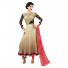 Deals, Discounts & Offers on Women Clothing - Mastani Beige Pure Georgette Anarkali Semi Stitched Dress Material