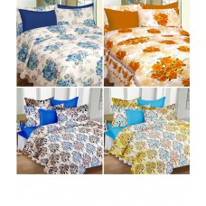 Deals, Discounts & Offers on Home Decor & Festive Needs - CURL UP - 100% Cotton Double Bedsheet with 8 Pillow Covers