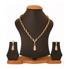 Deals, Discounts & Offers on Earings and Necklace - Flat 72% off on Touchstone Gold Plated Attractive Thin Necklace Set