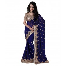 Deals, Discounts & Offers on Women Clothing - Flat 60% off on Bunny Sarees Navy Georgette Saree