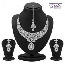 Deals, Discounts & Offers on Women - Flat 56% off on Sukkhi Modern Rhodium Plated Australian Diamond Necklace Set