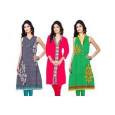 Deals, Discounts & Offers on Women Clothing - Flat 66% off on Designer Weightless Printed Cotton Kurtis