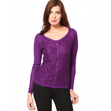 Deals, Discounts & Offers on Women Clothing - Flat 65% off on Vero Moda Purple Round Neck Cardigan