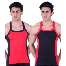 Deals, Discounts & Offers on Men Clothing - Flat 73% off on White Moon Black & Red Cotton Vest