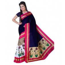 Deals, Discounts & Offers on Women Clothing - Shri Ambe Sarees Navy Cotton Saree at 67% offer