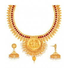 Deals, Discounts & Offers on Women - Spargz Spiritual Laxmi Necklace Set Suspended with Cluster of Pearl at 47% offer