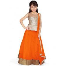 Deals, Discounts & Offers on Baby & Kids - new arrival designer orange net partywear kids lehenga choli  offer