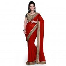 Deals, Discounts & Offers on Women Clothing - Janasya Women's Faux Chiffon Saree at 80% offer