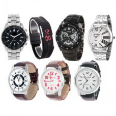 Deals, Discounts & Offers on Accessories - Combo Of 3 Metal Watch,3 Leather Strap Watch 1 Led Watch at 88% offer