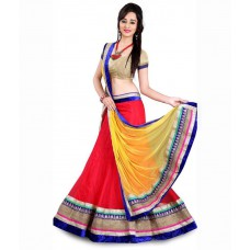 Deals, Discounts & Offers on Women Clothing - Vedika Fashion Red Net Lehenga at 70% offer