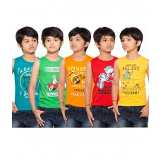 Deals, Discounts & Offers on Baby & Kids - Maniac Pack of 5 Multicolour Sleeveless T-Shirts at 55% offer