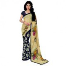 Deals, Discounts & Offers on Women Clothing - Aagaman Fashion Blue Printed Georgette Saree with Blouse at 80% offer