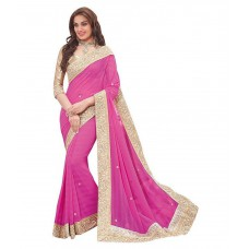 Deals, Discounts & Offers on Women Clothing - V Art Pink Art Silk Saree at 57% offer