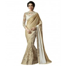 Deals, Discounts & Offers on Women Clothing - Elevate Women Beige Chiffon Saree
