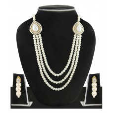 Deals, Discounts & Offers on Women - Zaveri Pearls White Pearls Designer Necklace Set