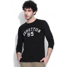 Deals, Discounts & Offers on Men Clothing - United Colors of Benetton Printed Men's Round Neck Black T-Shirt