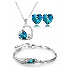 Deals, Discounts & Offers on Earings and Necklace - YouBella Valentine Collection Crystal Jewellery Combo of Necklace Set with Earrings and Bracelet for Girls and Women
