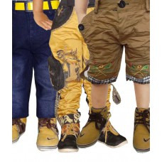 Deals, Discounts & Offers on Kid's Clothing - AD & AV Pack Of Three Partywear Cargo, One Decent Cotton Jeans And One Crash Cotton Half Pent - Set of 3