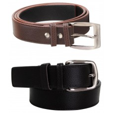 Deals, Discounts & Offers on Accessories - Elligator Combo Of Black & Brown Casual Belt For Men - Set Of 2